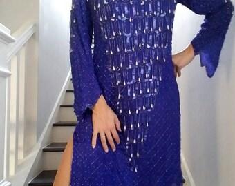 SILK Beaded FRINGE Sequin SHEER Blue Slouchy Dress (m)