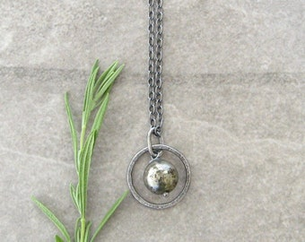 pyrite and silver pendant necklace, rustic oxidized necklace