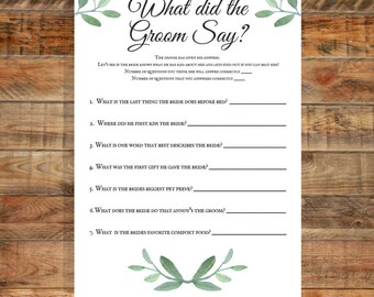 Greenery What did the Groom Say Printable Bridal Shower Game, Instant Digital Download
