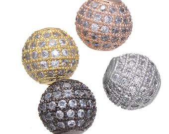 Bulk 5 Micro Pave CZ Cubic Zirconia Beads 10mm (CN0037)