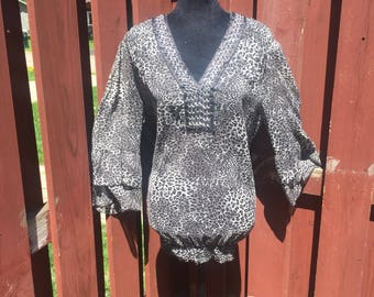 Vintage Plus Size Leopard Print Top / Sheer Polyester Black and White Blouse Size 2X