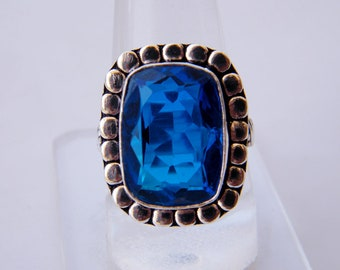Blue Quartz Ring - Faceted Gemstone Ring - Silver Plated - Handmade Ring