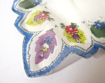 Vintage Handkerchief Sheer White with Blue and Patterned Border