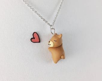 Cute Bear Necklace // Polymer Clay Bear Charm // Kawaii Bear Gift for Daughter and Girlfriend