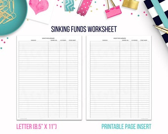 Letter: Sinking Funds Worksheet • Budget Binder Printable Page Insert for BIG Happy Planner® & Letter sized Discbound or Ringbound Planners