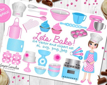 Baking clipart kitchen clip art cake graphics planner stickers cute girl clipart cake illustrations, planner clipart commercial use ok