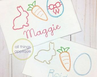 Easter Trio 2 Embroidery Design - SKETCH Stitch (#1082) - Easter Applique Design - INSTANT DOWNLOAD