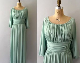 1970s Vintage Dress - 70s Celedon Green Grecian Gown - Small