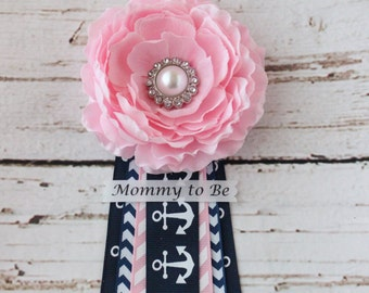 SALE! Pink Nautical Baby Shower Corsage Pin with Mommy to Be, Grandma to Be, and Custom Tags for Anchor Ahoy Its a Girl Party