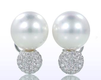 South Sea Pearl Diamond Pave Earrings