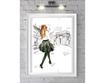 Fashion Illustration Watercolor Painting Print 'Lost in Paris' - Home decor and wall art, Fashion prints