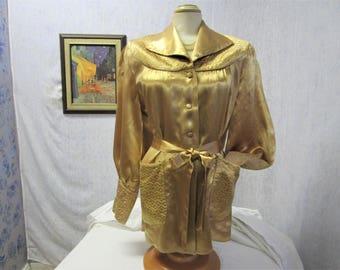 50s M Ann Gordon Bed Jacket Lingerie Satin Gold