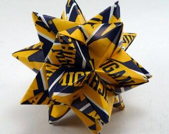 Medium Origami Star Made With Licensed University of Michigan Paper, Michigan Wolverines Ornament, Michigan Decoration