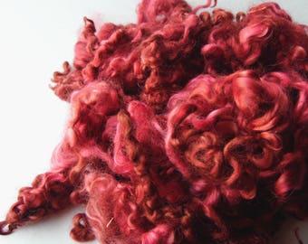 Wensleydale dyed locks Shades of Blood blythe, doll hair, lock spinning, tail spinning, felt, felting