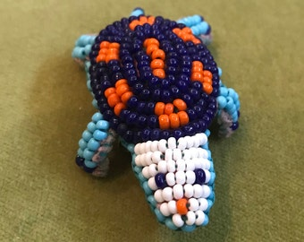 Seed Bead Turtle Pin