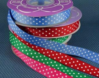 5/8 Inch Polka Dot Grosgrain Ribbon - Four Colors