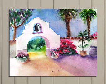 California Mission, Ventura, Landscape Plein-air Painting Original, Missions, landmarks, FREE SHIPPING USA