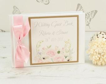 Personalised Vintage Flowers Wedding Guest Book