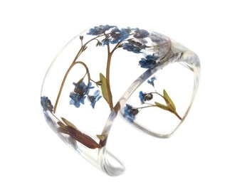 Forget Me Nots Eco Resin Bracelet.   Wide Cuff with Personalized Engraving. Handmade Resin Jewelry.  Size Small Large XL