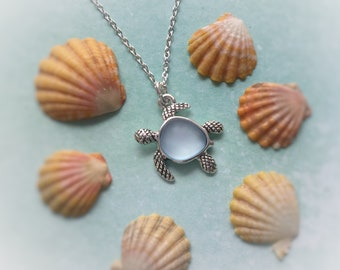 Sea Glass Turtle necklace, faux sea glass, blue