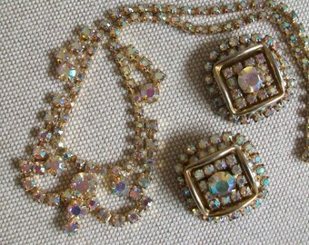 Vintage Weiss jewelry set, ab rhinestone necklace, clip earrings, gold ab crystal, swag, square earrings, choker, adjustable