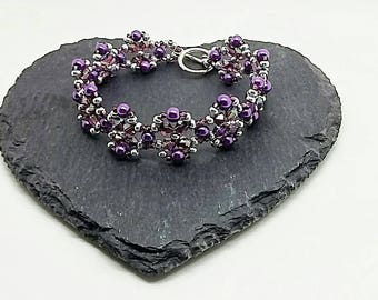 Purple Crystal and Pearl Bracelet, Purple and Silver, Beadwoven Bracelet, Purple Crystal Flower, Purple beadwork, Beadwoven, Gift For Her