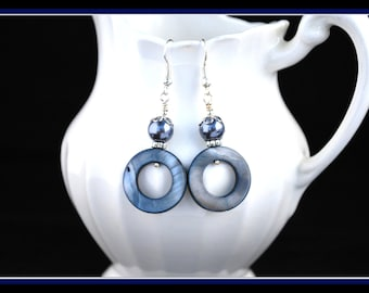 Women's Mother of Pearl Earrings, Mother of Pearl Dangles, Mother of Pearl Drop, Blue Gray Earrings, SCelesteDesigns