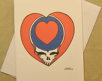 Grateful dead card etsy grateful dead all occasion greeting card steal your heart regular size card mini print a lunar eclipse cartoon all occasion card m4hsunfo