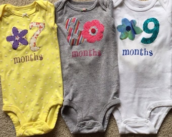 Girls Floral Month-by-Month Bodysuits (Months 7-9)