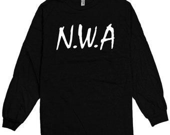 N.W.A. - Black Long Sleeve T-Shirt Straight Outta NWA Ice Cube Dr Dre Eazy S-3XL