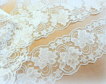 """5 yds., White Lace Trim, 4"""" wide, Bridal Accessories, Mason Jars, Runners, Sachets, Lace for Invitations"""