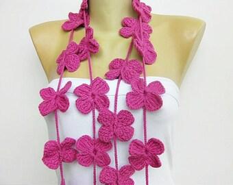 crochet lariat scarf  ,flower lariat scarf ,crochet jewelery scarf ,