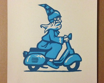 The Scooter Wizard - Fairy Tale Magic Wizard riding a Vespa