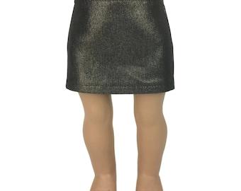 "Gold Foil Black Stretch Denim Skirt - Doll Clothes fits 18"" American Girl Dolls"
