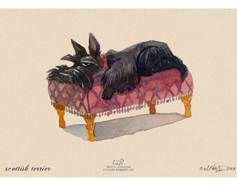 Scottie on a couch print out of original watercolour painting