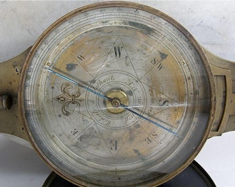 SURVEYORS TRANSIT COMPASS American Vernier's Compass Brass Original Case Meneely & Oothout West Troy New York 1830's Rare Antique Navigation