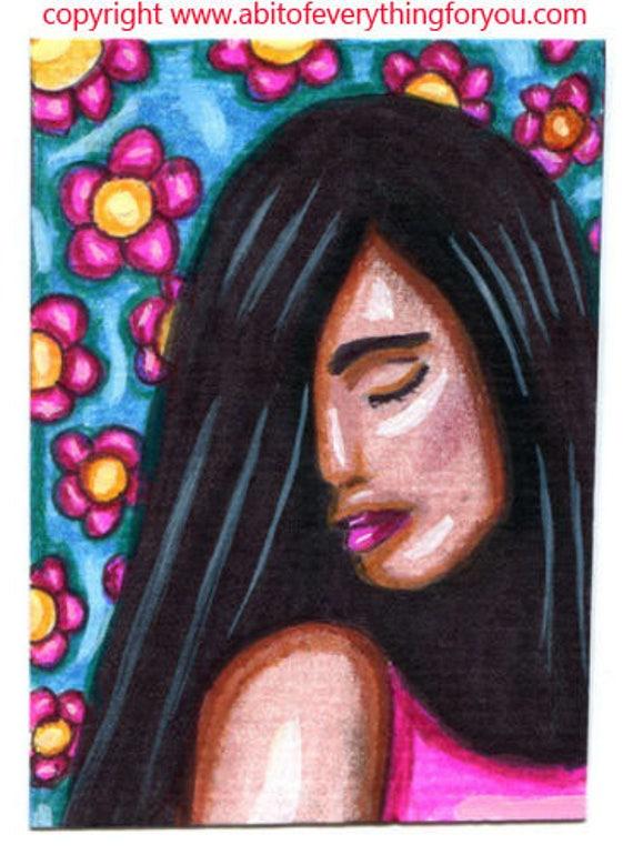 latin girl pink flowers people original aceo art drawing miniature artwork modern pink blue woman