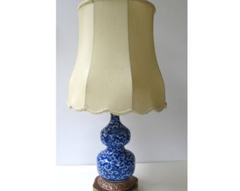 Vintage Table Lamp Blue and White Porcelain Double Gourd Table Lamp - Copper and Brass Base - Original Shade - Asian Blue  Chinoiserie