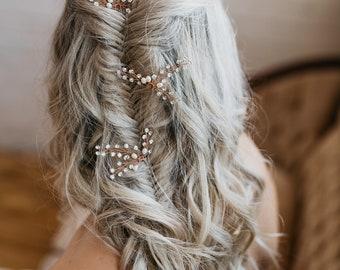 Wedding Hair Pins | Bridal Hair Pins | Crystal Hair Pins | Bridesmaid Hair Pins | Boho Hair Pins | Wedding Headpiece Bridal Headpiece Claire