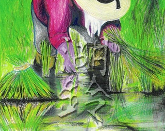Woman in the Rice Field (Print)