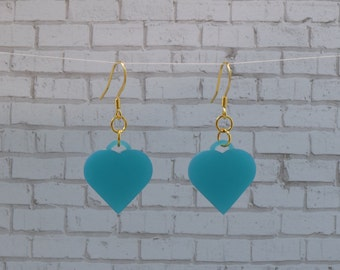 Teal Heart Earrings with Gold Plated Findings