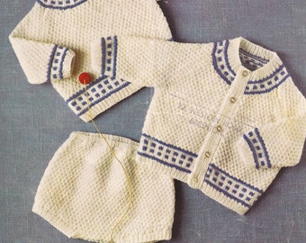"PDF Knitting Pattern Baby Boys Sweater/Cardigan/Pants/Diapers/Shorts sizes 18 to 22"" (B318)"