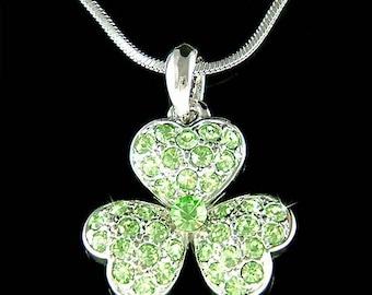 Irish Swarovski Crystal Saint Patrick's Day Lucky Three Leaf CLOVER SHAMROCK Pendant Charm Chain Necklace New Christmas Gift