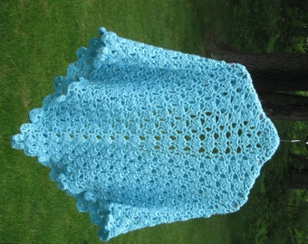 Shawl Aqua Blue Wrap Crochet Three Corner Stole Turquoise Shoulder Drape