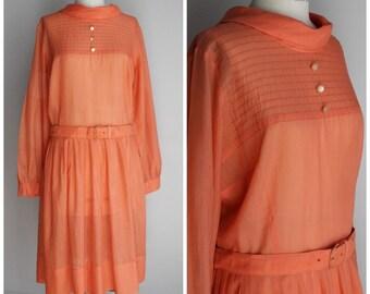 Vintage 1960s Orange Dress / 60s Carol Brent Casual Dress / 1960s Day Dress / Belted Dress / Mod Dress
