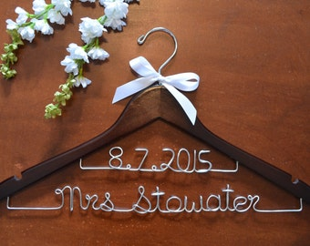 Personalized Double Lined Custom Name Hanger, Bride Wedding Dress Hanger, Wedding Gown Hanger