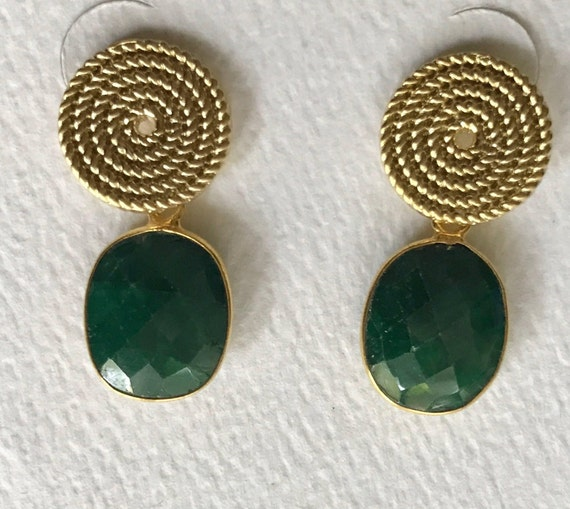 "Emerald Earrings, Emerald and Gold Post Earrings, Gold Plated Brass Post, 925 Sterling Silver Backs, 24K Gold Bezel Emerald, 1"" long"