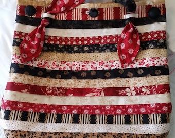 Large tote, quilted tote, handmade tote, black, beige, brown, red