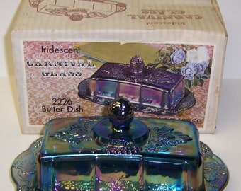 Indiana Iridescent Purple Carnival 2226 HARVEST Quarter Pound BUTTER Dish with Lid, Original Box