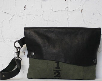 Army Green Clutch / Black Leather Wristlet Bag /  Canvas Handbags / Leather Purse